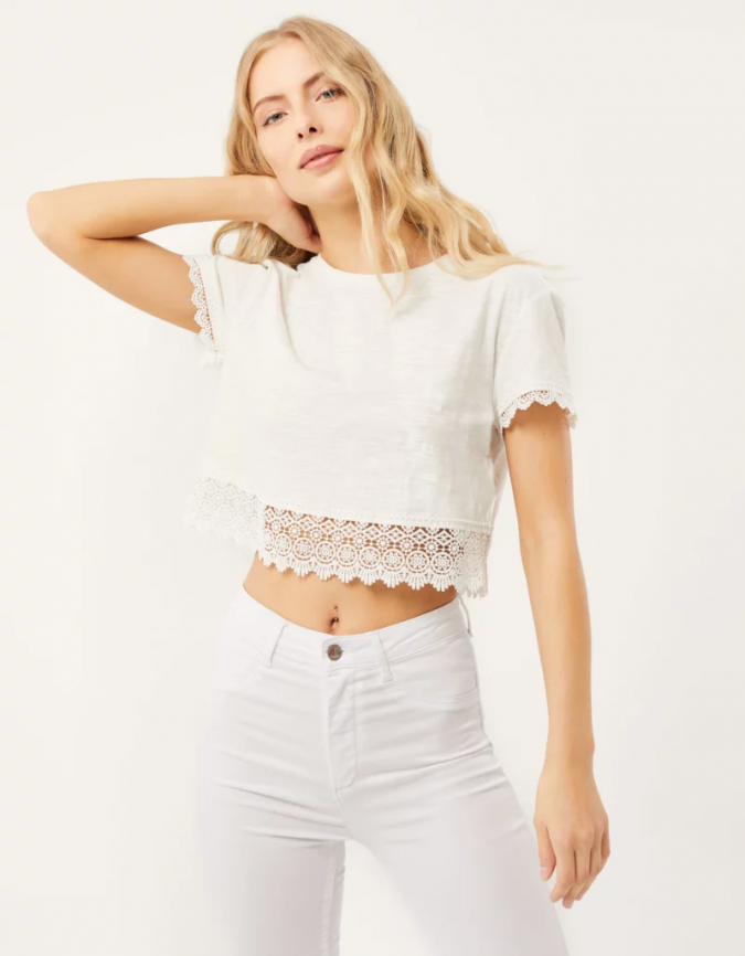 white-crochet-top-summer-outfit-675x866 Children's Fashion 2019: Trends for Girls and Boys