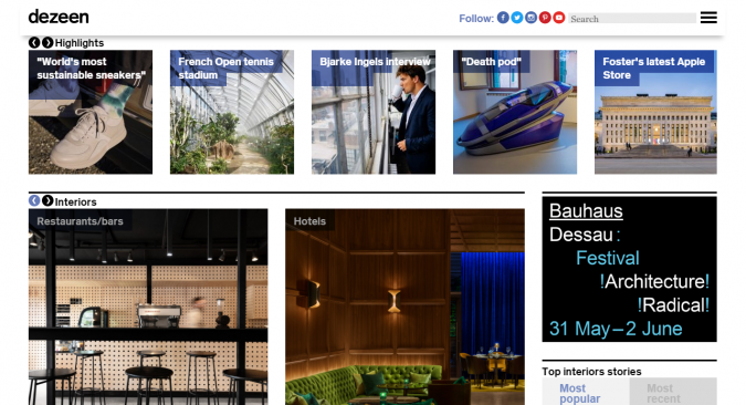 dezeen-magazine-website-interior-design-decor-675x366 Best 50 Home Decor Websites to Follow in 2020