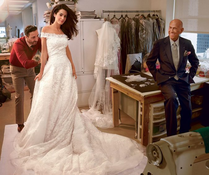 George-Clooney's-bride-wedding-dress-by-Oscar-de-la-Renta-675x566 Top 10 Most Expensive Wedding Dress Designers in 2020