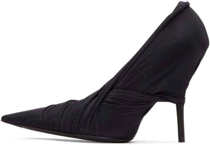 black-jersey-wrap-heels-e1560251300117-675x468 Best 20 Balenciaga Shoes Outfit Ideas for Women in 2019