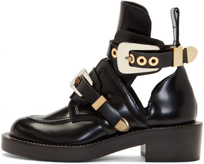black-leather-buckle-boots-e1560250019615-675x543 Best 20 Balenciaga Shoes Outfit Ideas for Women in 2019