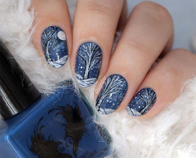 holiday-matte-nail-art-675x546 +60 Hottest Nail Design Ideas for Your Graduation
