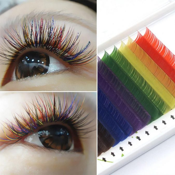 makeup-Rainbow-eyelashes-2-675x675 Top 20 Newest Eyelashes Beauty Trends in 2020