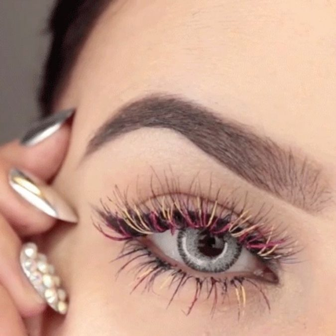 makeup-Rainbow-eyelashes-675x675 Top 20 Newest Eyelashes Beauty Trends in 2019
