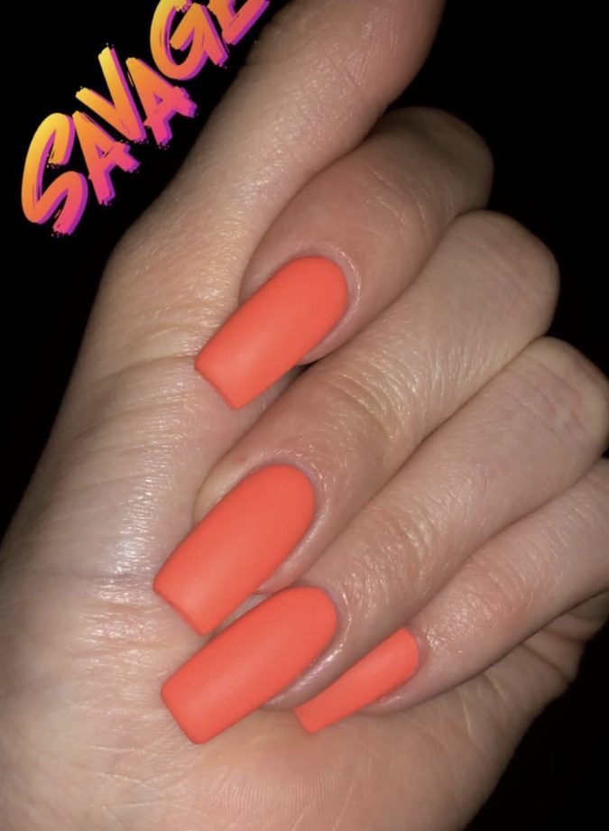 matte-coral-nails-675x921 +60 Hottest Nail Design Ideas for Your Graduation
