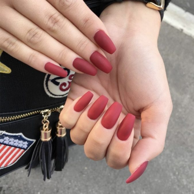 matte-red-nails-675x675 +60 Hottest Nail Design Ideas for Your Graduation