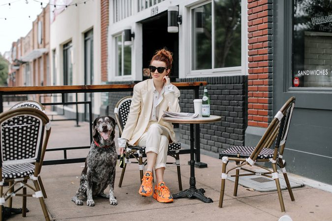 women-all-white-outfit-with-sneakers-675x450 Best 20 Balenciaga Shoes Outfit Ideas for Women in 2021