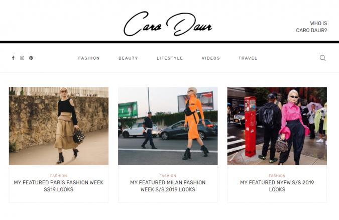 Caro-Daur-website-screenshot-675x438 Top 60 Trendy Women Fashion Blogs to Follow in 2019