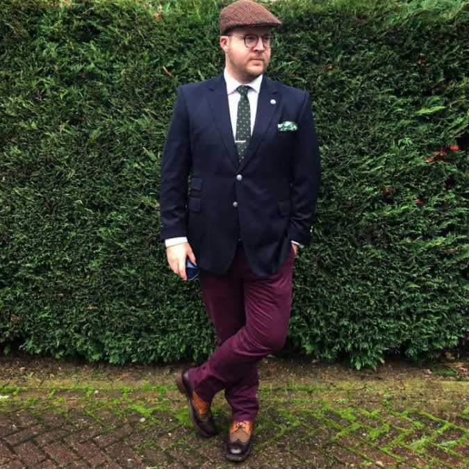 Man-in-Purple-Pants-and-Blue-Blazer-675x675 Dressing for Your Body: The Man's Guide