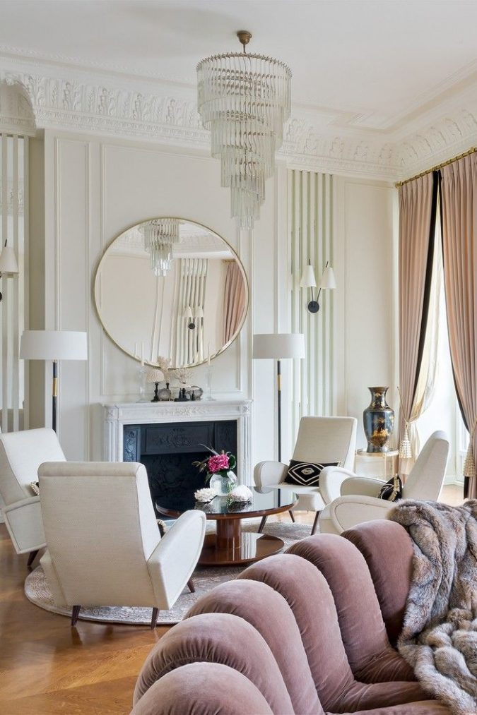 classic-modern-home-interior-vintage-chandelier-675x1013 11 Tips on Mixing Antique and Modern Décor Styles