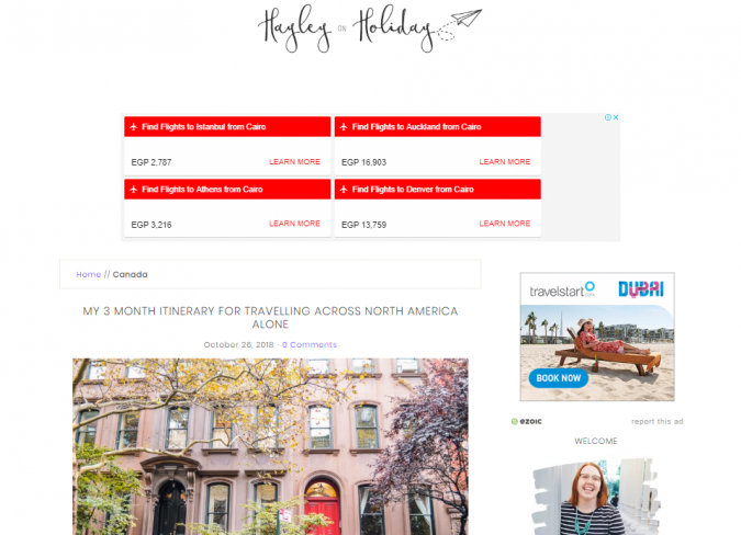 hayley-on-holiday-travel-website-675x488 Best 60 Travel Website Services to Follow in 2019