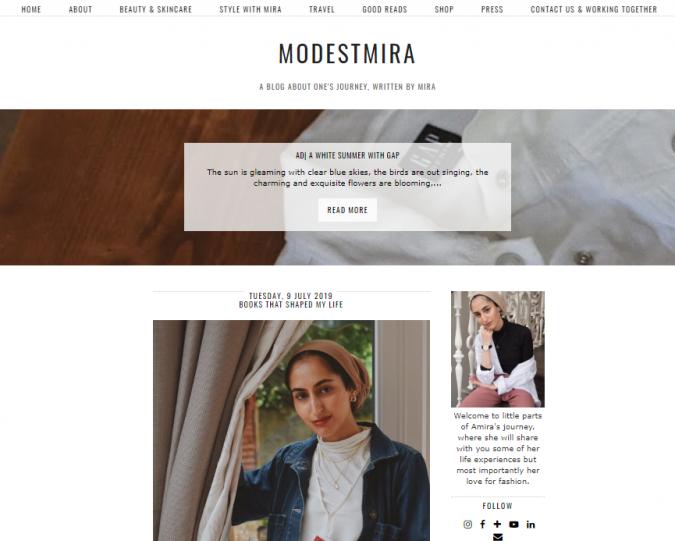 modest-mira-website-screenshot-675x541 Top 60 Trendy Women Fashion Blogs to Follow in 2021