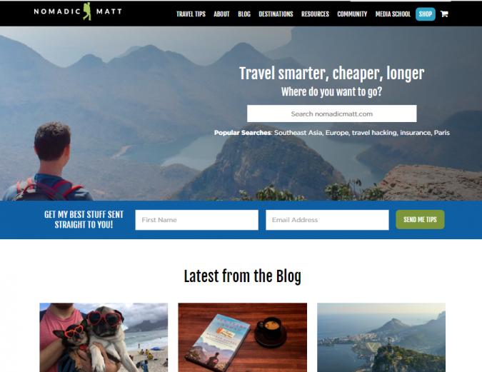 nomadic-matt-travel-website-675x521 Best 60 Travel Website Services to Follow in 2020