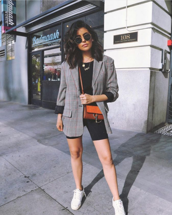 summer-outfit-biker-short-and-blazer-675x845 10 Wardrobe Essentials Inspired by Summer 2020 Fashion Trends
