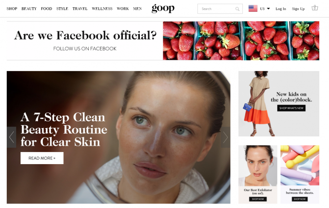 Goop-website-screenshot-675x427 Best 50 Lifestyle Blogs and Websites to Follow in 2019