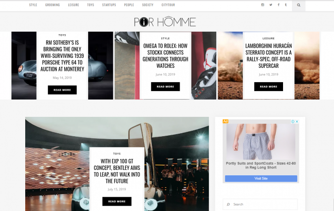 Por-Homme-website-screenshot-675x426 Best 50 Lifestyle Blogs and Websites to Follow in 2019