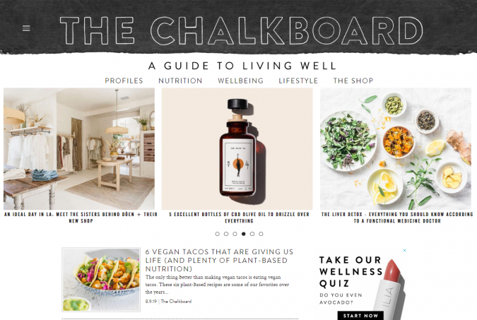 The-Chalkboard-website-screenshot-675x453 Best 50 Lifestyle Blogs and Websites to Follow in 2019