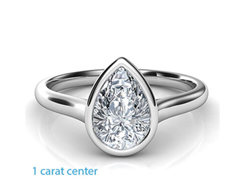 1-carat-center Low Profile Engagement Rings with Bezel Set