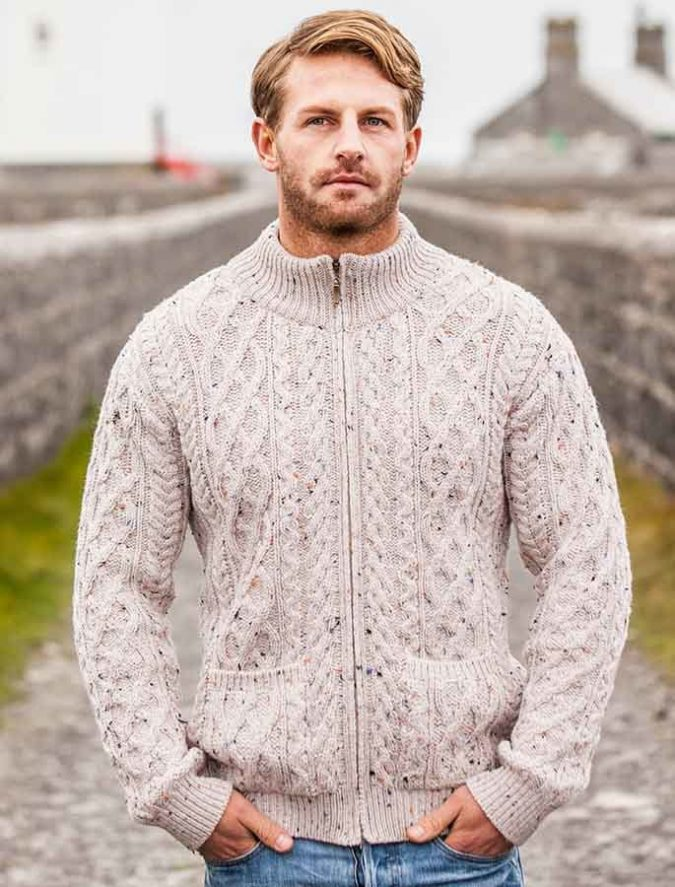 Aran-Diamond-and-Cable-Zip-Cardigan-675x887 Embrace the Autumn with Aran Sweaters and Irish Knits