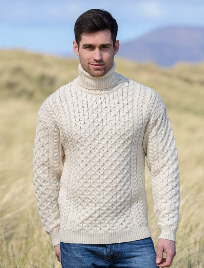 Aran-Wool-Turtleneck-Sweater-675x887 Embrace the Autumn with Aran Sweaters and Irish Knits