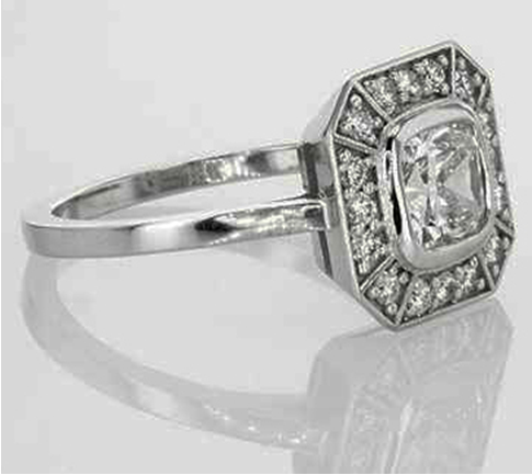 Cushion-diamond Low Profile Engagement Rings with Bezel Set