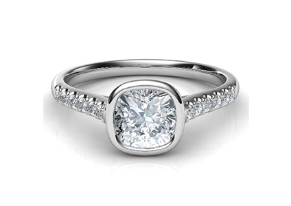 Pavé-Band-Bezel Low Profile Engagement Rings with Bezel Set