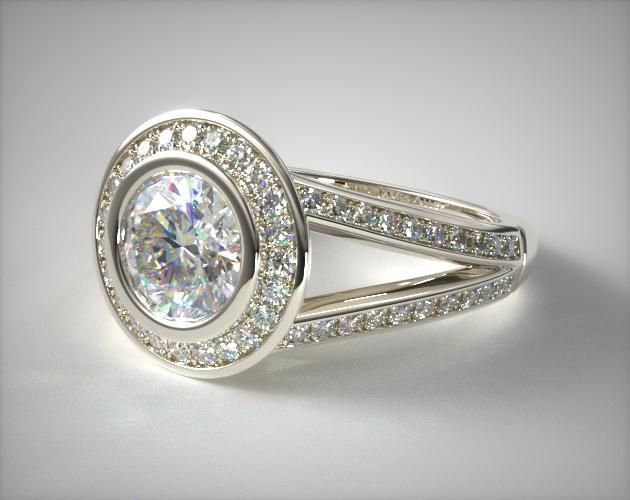 Split-Shank-Halo-Bezel Low Profile Engagement Rings with Bezel Set