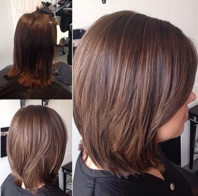 Straight-Wispy-Bob-with-Chocolate-Highlights-675x667 Completely Fashionable Medium Length Hairstyles