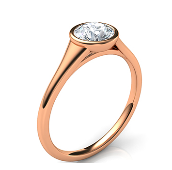 bezel-and-rose-gold Low Profile Engagement Rings with Bezel Set