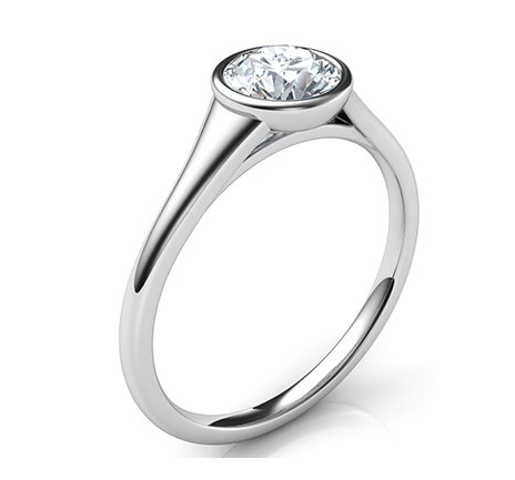 diamond Low Profile Engagement Rings with Bezel Set