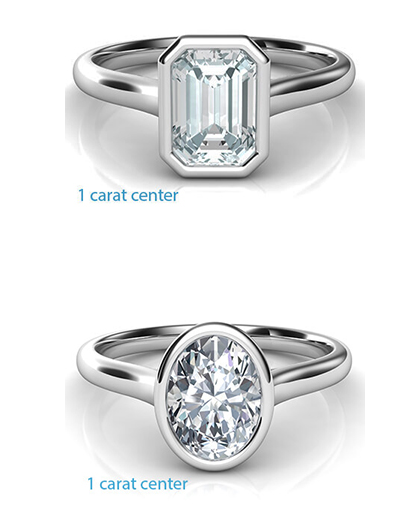 fancy-shaped-bezel Low Profile Engagement Rings with Bezel Set