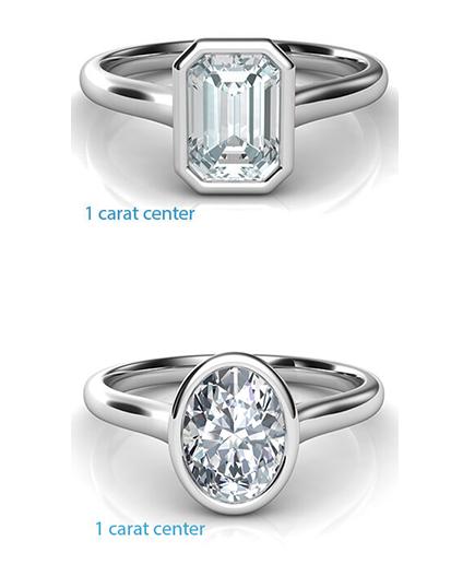 fancy-shaped-bezel Low Profile Engagement Rings with Bezel Set