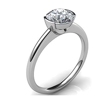 half-bezel Low Profile Engagement Rings with Bezel Set