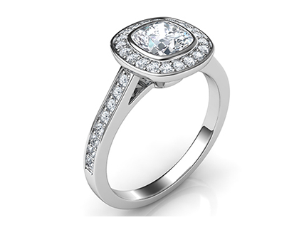 ring-1 Low Profile Engagement Rings with Bezel Set