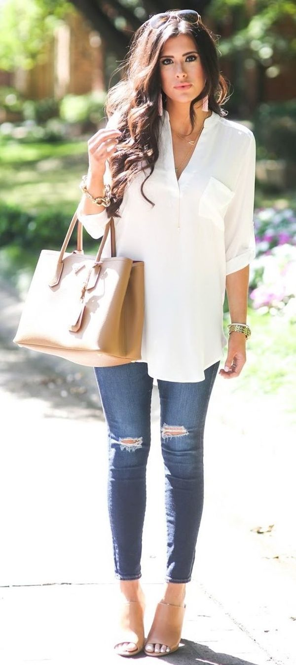 white-shirt-outfit-for-womwn-over-40 20 Must-Have Wardrobe Pieces Every Woman Over 40 Needs