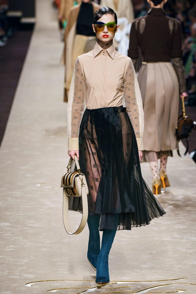 Fall-fashion-2019-a-line-pleated-skirt-Fendi-675x1013 10 Fall/Winter Retro Fashion Trends for the 70s Nostalgics in 2020