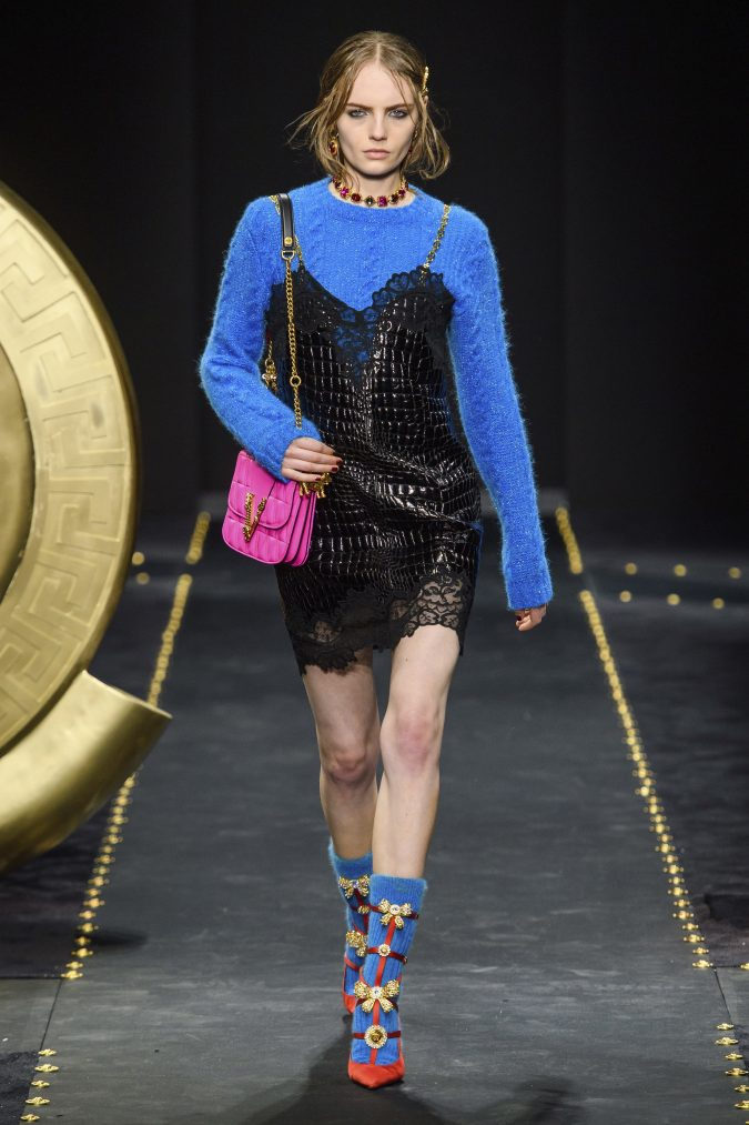 Fall-winter-fashion-2020-camisole-dress-versace-2-675x1013 60+ Retro Fashion Designs of Fall/Winter 2020 Inspired by the 80s and 90s