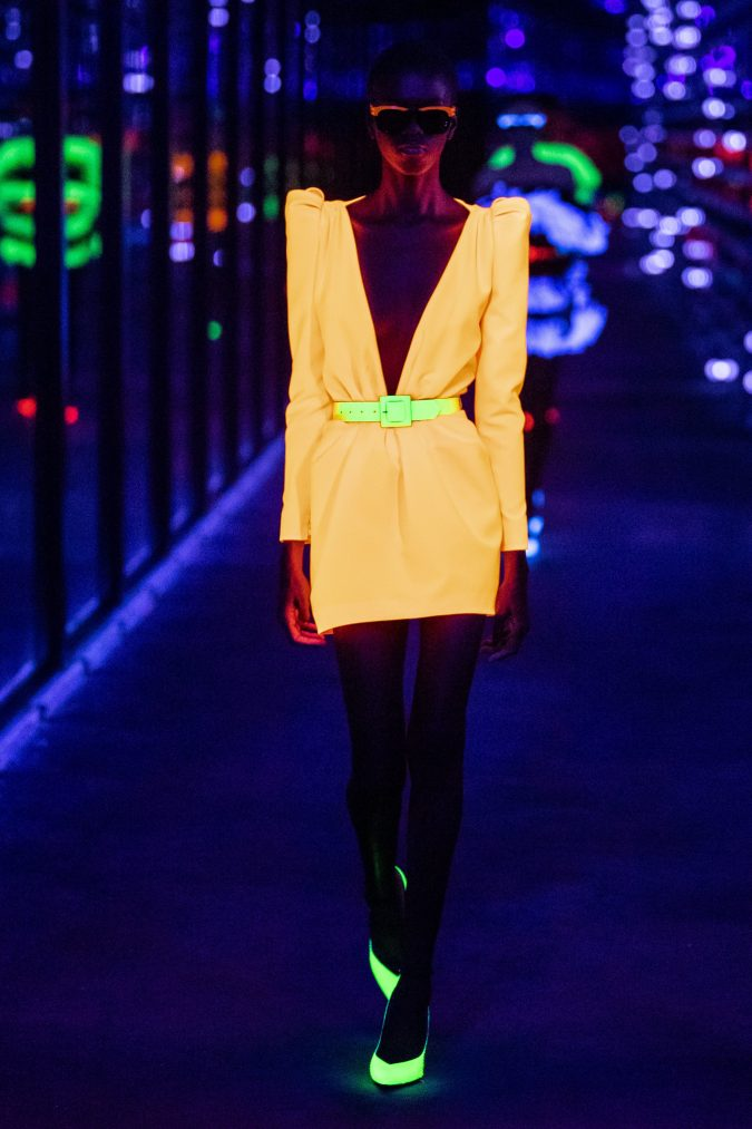 Fall-winter-fashion-2020-neon-dress-and-shoes-saint-laurent-675x1013 60+ Retro Fashion Designs of Fall/Winter 2020 Inspired by the 80s and 90s