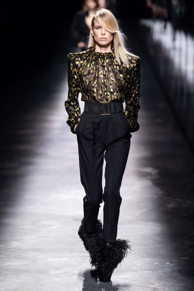 Fall-winter-fashion-2020-nightclub-style-big-shoulders-Saint-Laurent-675x1013 +20 Fall Fashion Trends of 2020 for the Fans of Unusual Shoulders and Sleeves