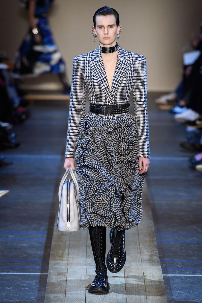 Fall-winter-fashion-2020-plaided-dress-Alexander-Mcqueen-675x1013 120+ Lovely Floral Outfit Ideas and Trends for All Seasons 2020