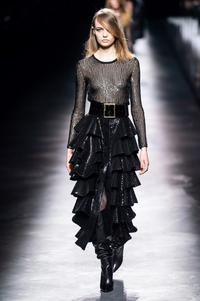 fall-fashion-2019-belted-dress-Saint-Laurent-675x1013 60+ Retro Fashion Designs of Fall/Winter 2020 Inspired by the 80s and 90s