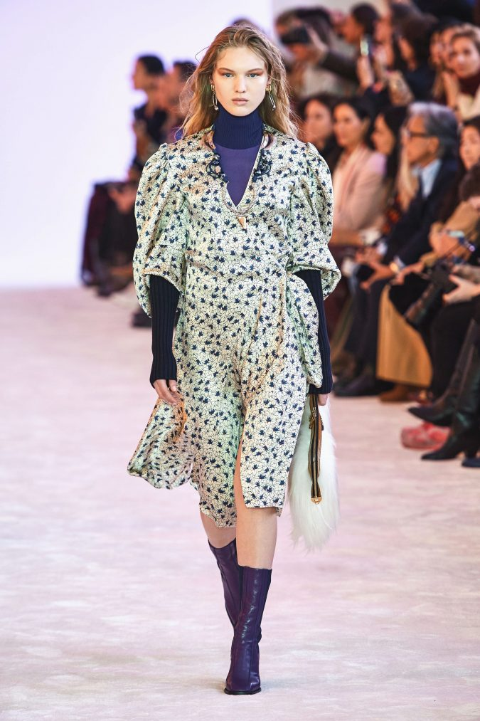 fall-winter-fashion-2019-dress-puffy-layered-sleeves-chloe-675x1013 120+ Lovely Floral Outfit Ideas and Trends for All Seasons 2020