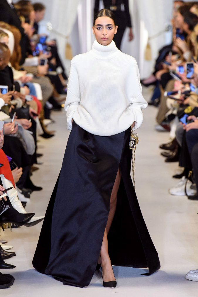 fall-winter-fashion-2019-maxi-slited-skirt-turtleneck-Brandon-Maxwell-675x1013 45+ Elegant Work Outfit Ideas for Fall and Winter 2020