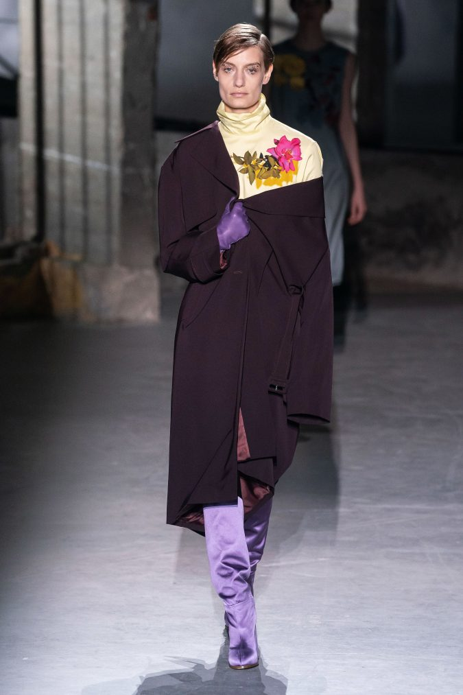 fall-winter-fashion-2020-coat-asymmetrical-shoulders-Dries-Van-Noten-675x1013 120+ Lovely Floral Outfit Ideas and Trends for All Seasons 2020