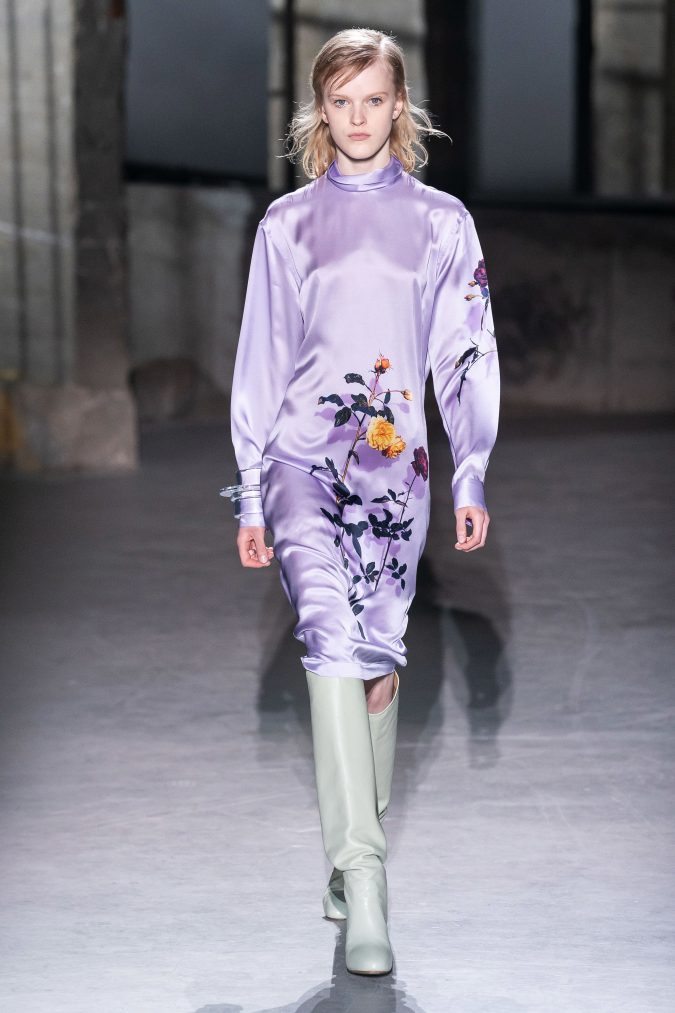 fall-winter-fashion-2020-dress-asymmetrical-sleeves-Dries-Van-Noten-675x1013 120+ Lovely Floral Outfit Ideas and Trends for All Seasons 2020