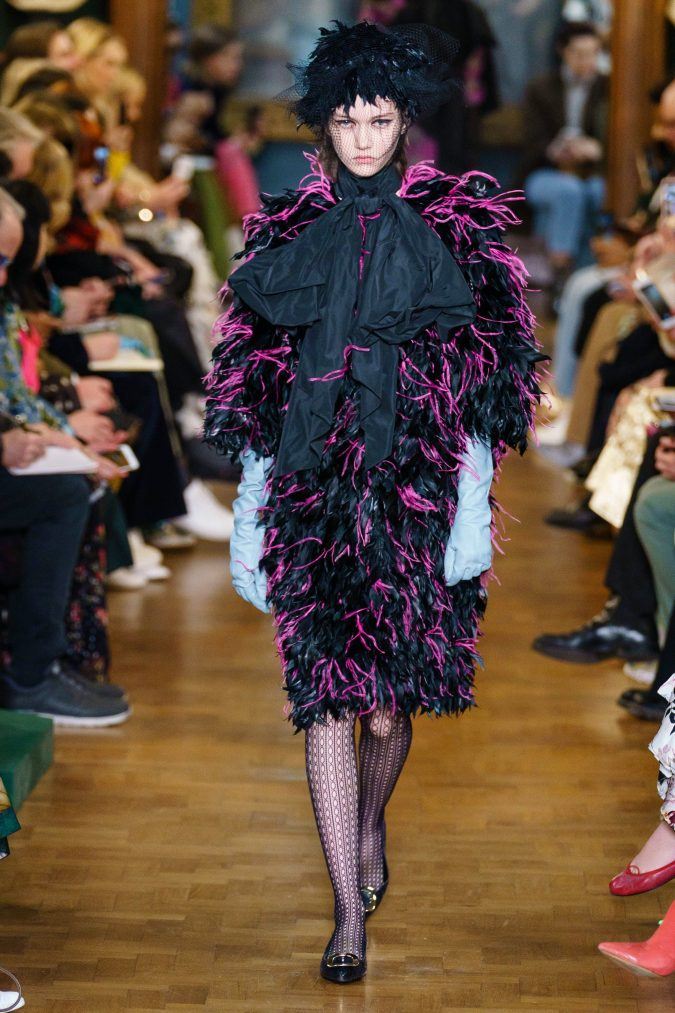 fall-winter-fashion-2020-feather-dress-big-shoulders-Erdem-675x1013 +20 Fall Fashion Trends of 2020 for the Fans of Unusual Shoulders and Sleeves