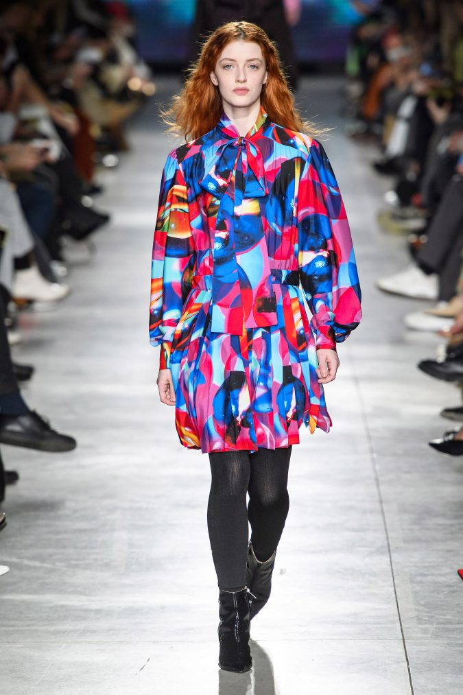 fall-winter-fashion-2020-mini-patterned-dress-pussy-bow-MSGM-675x1013 +80 Fall/Winter Fashion Trends for a Stunning 2020 Wardrobe