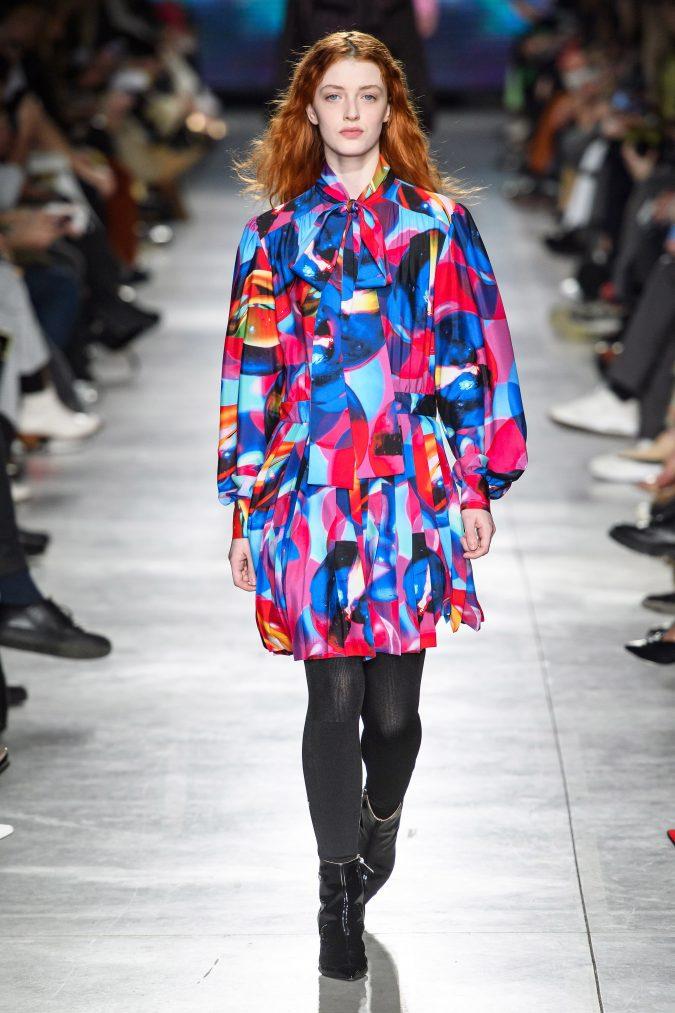 fall-winter-fashion-2020-mini-patterned-dress-pussy-bow-MSGM-675x1013 +80 Fall/Winter Fashion Trends for a Stunning 2021 Wardrobe