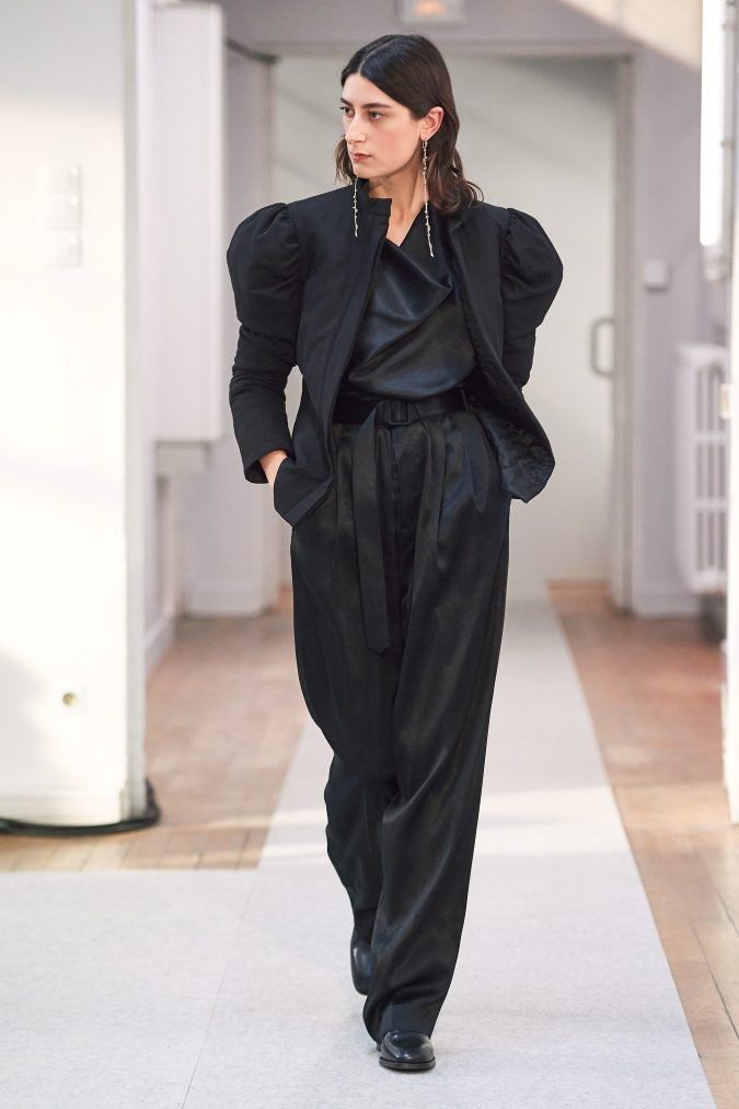 fall-winter-fashion-2020-pantsuit-leg-of-mutton-sleeves-Lemaire-675x1013 45+ Elegant Work Outfit Ideas for Fall and Winter 2020