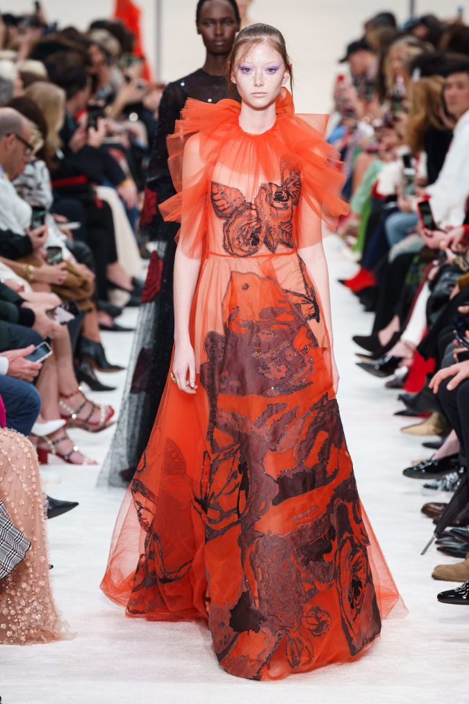 fall-winter-fashion-2020-see-through-dress-neck-ruffles-Valentino-675x1013 120+ Lovely Floral Outfit Ideas and Trends for All Seasons 2020